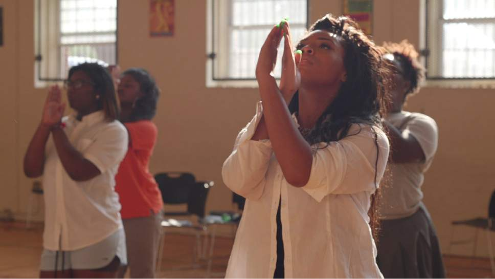 "In a scene from the documentary film ""Step,"" members of a dance team practice at the Baltimore Leadership School for Young Women. Courtesy Naysa Reames"
