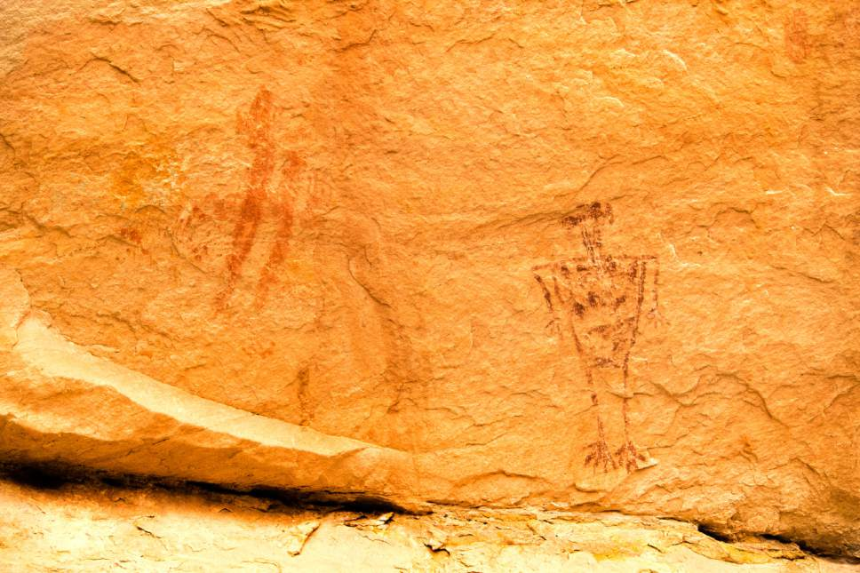 Rick Egan  |  The Salt Lake Tribune  Rock art in Monarch Cave, in the Butler Wash, near where Mary Benally spent a year of her childhood east of Comb Ridge in Bears Ears National Monument. Thursday, January 12, 2017.
