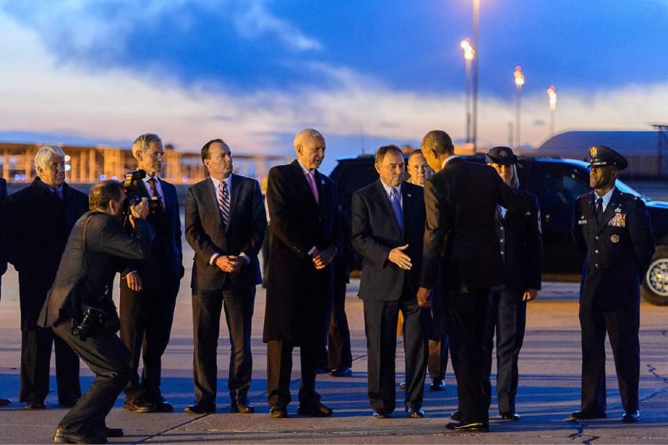 Trent Nelson  |  The Salt Lake Tribune President Barack Obama greets Utah Governor Gary Herbert after landing at Hill Air Force Base, Thursday April 2, 2015.