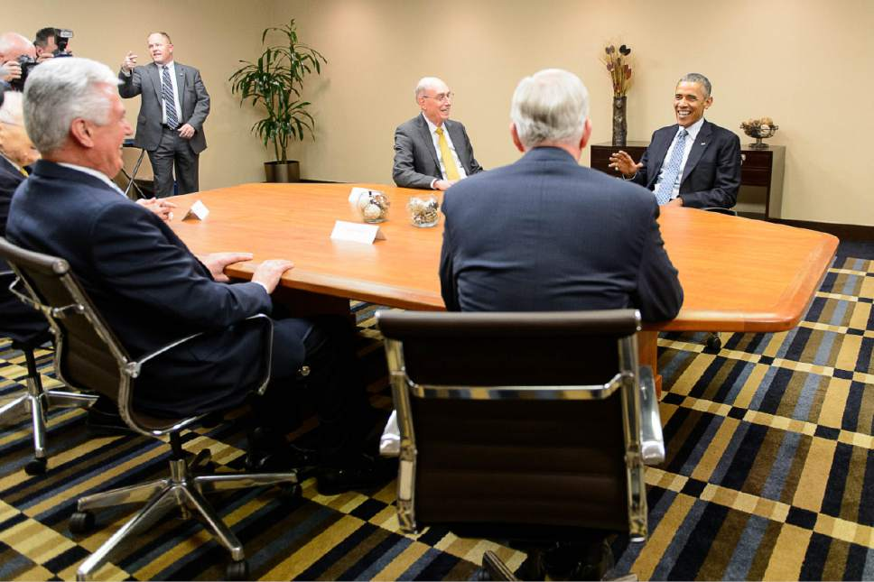 Trent Nelson  |  The Salt Lake Tribune President Barack Obama meets with leaders of The Church of Jesus Christ of Latter-day Saints at the Sheraton Hotel during visit to Utah, Thursday April 2, 2015. Left to right are  L. Tom Perry, Dieter F. Uchtdorf, Henry B. Eyring, D. Todd Christofferson, and President Obama.