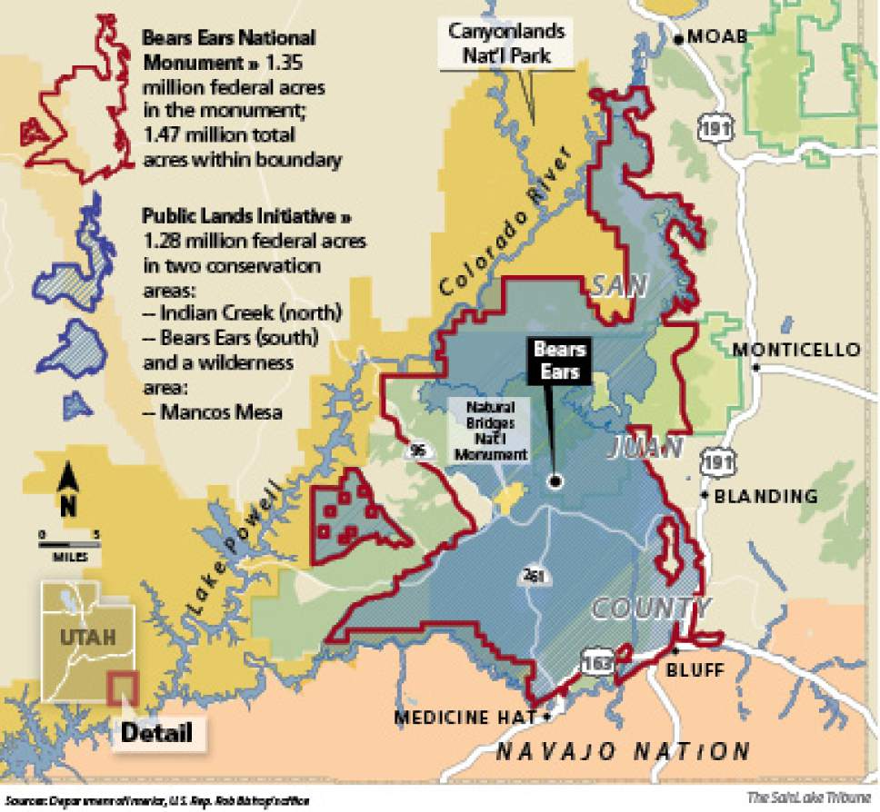 Bears Ears National Monument The 1.35-million-acre designation encompasses much of the same acreage as the Public Lands Initiative.