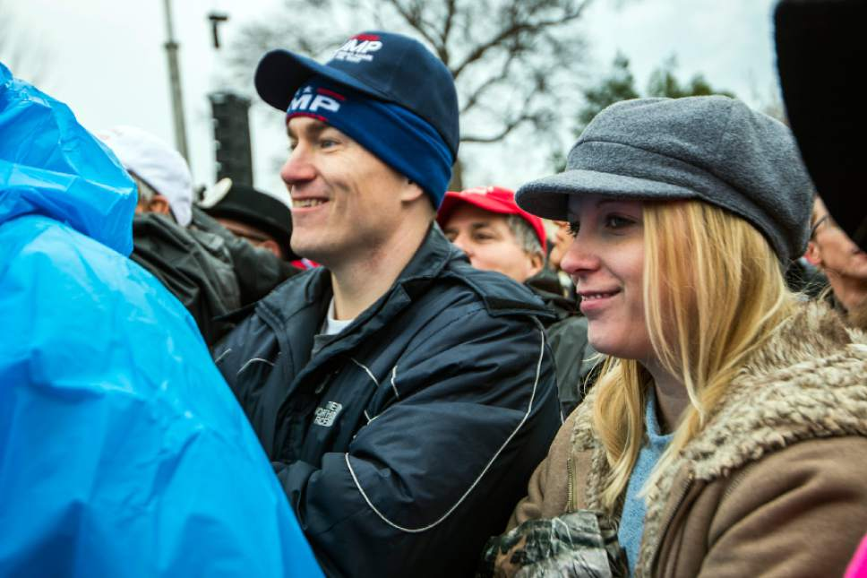 Chris Detrick  |  The Salt Lake Tribune Robert and Anna Woodruff, of South Jordan, watch during the 58th Presidential Inauguration Ceremony at the U.S. Capitol Friday January 20, 2017.