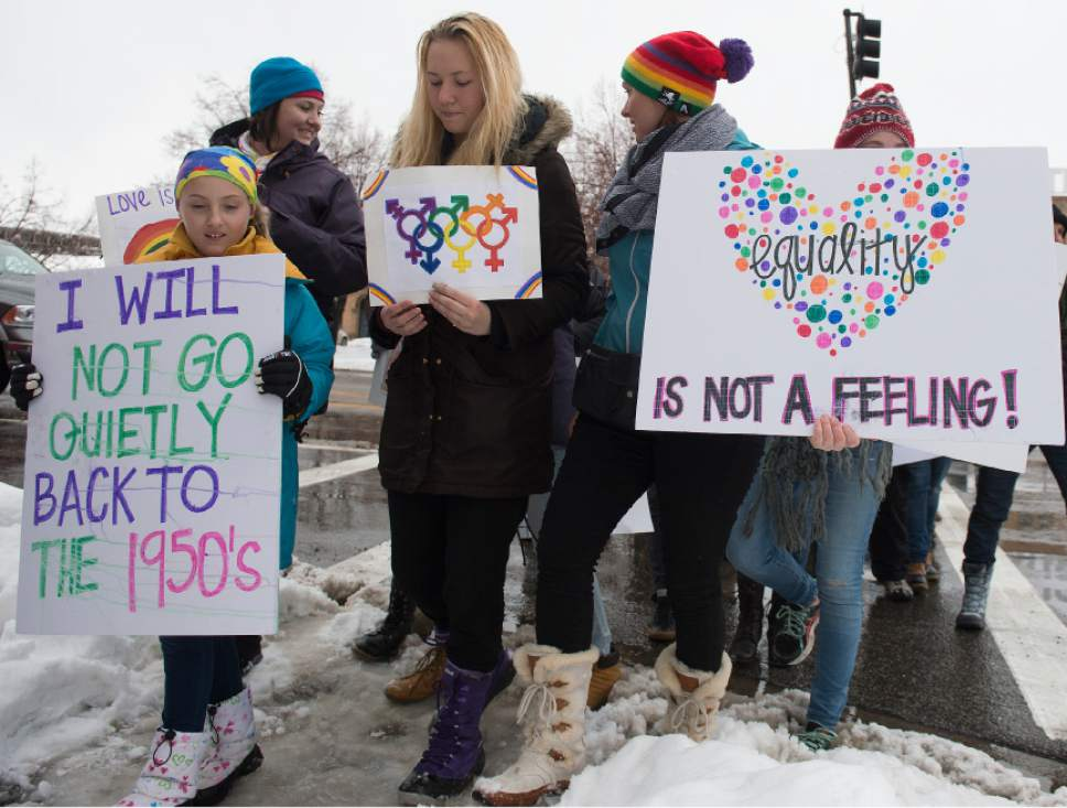 Leah Hogsten  |  The Salt Lake Tribune In conjunction with the Women's March on Washington, Ogden hosted the Northern Utah Unity Rally Saturday, January 21, 2017  at Ogden Union Station with a march to Washington Boulevard, ending at the Ogden City Municipal Building, 2549 Washington Blvd.