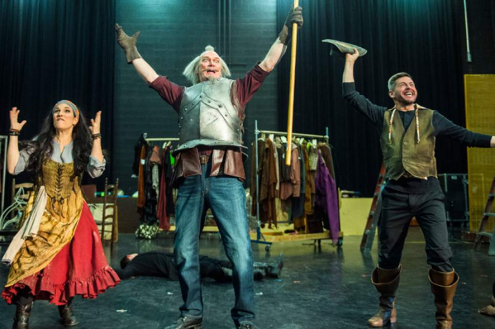 "Chris Detrick  |  The Salt Lake Tribune Audrey Babcock 'Aldonza/Dulcinea' David Pittsinger 'Cervantes/Quixote' and Keith Jameson 'Sancho Panza' act out a scene during a rehearsal of ""Man of La Mancha"" at Utah Opera production studio Wednesday January 11, 2017."