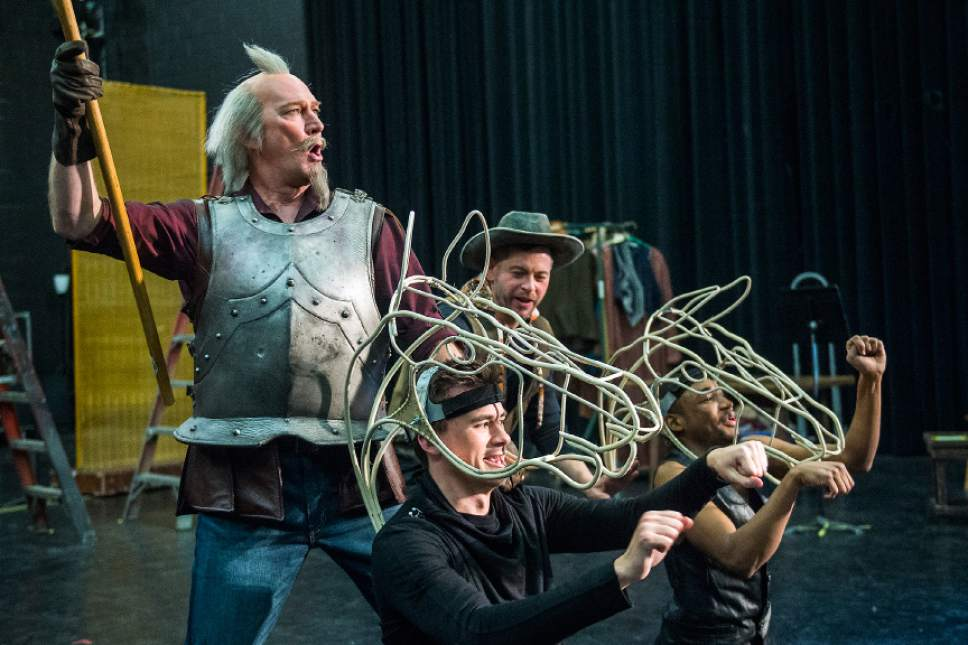 "Chris Detrick  |  The Salt Lake Tribune David Pittsinger 'Cervantes/Quixote' Keith Jameson 'Sancho Panza' Christian Sanders 'The Padre' and Markel Reed and 'Pedro, head Muleteer' act out a scene during a rehearsal of ""Man of La Mancha"" at Utah Opera production studio Wednesday January 11, 2017."