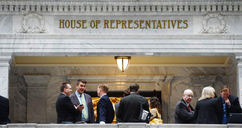 Steve Griffin     Tribune file photo Lobbyists and members of the public wait outside the House of Representatives during the 2014 legislative season on Capitol Hill in Salt Lake City.