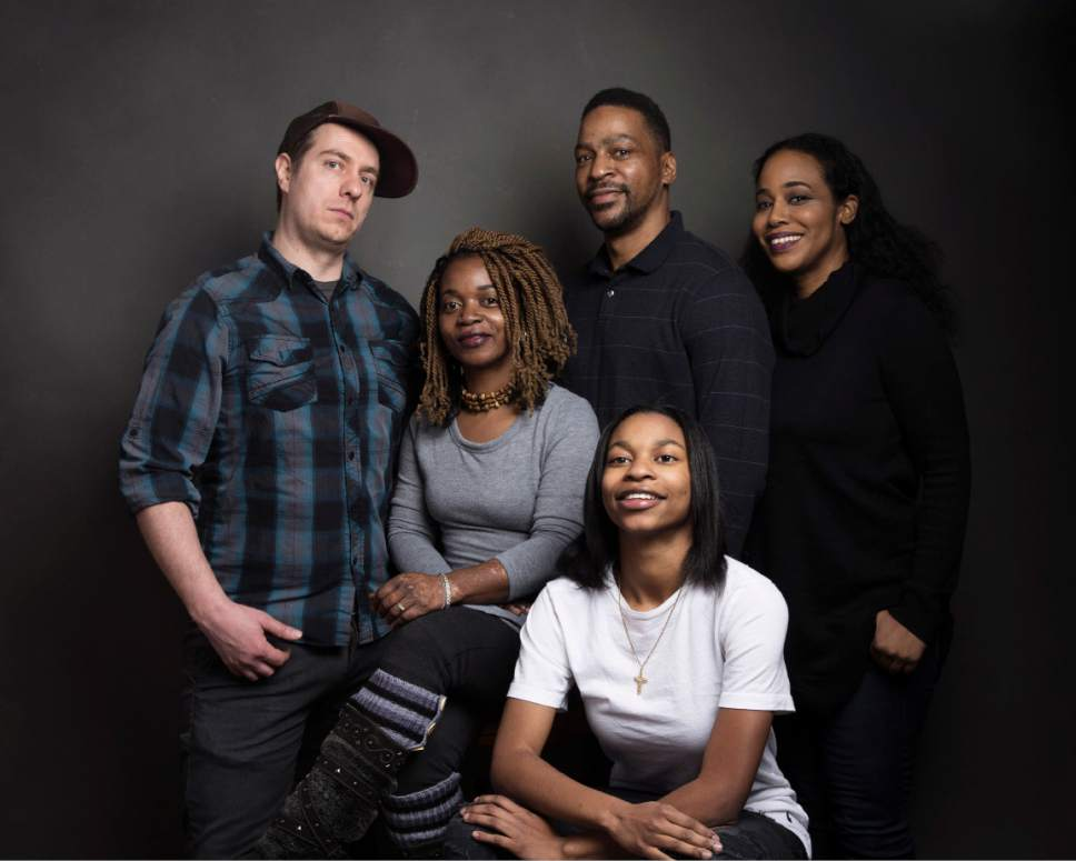 """Director Jon Olshefski, from left, Christin'a """"Ma Quest"""" Rainey, Christopher """"Quest"""" Rainey, producer Sabrina Gordon and PJ Rainey pose for a portrait to promote the film, """"Quest"""", at the Music Lodge during the Sundance Film Festival on Friday, Jan. 20, 2017, in Park City, Utah. (Photo by Taylor Jewell/Invision/AP)"""