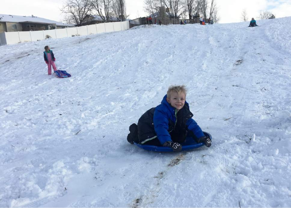 Mariah Noble     The Salt Lake Tribune  Griffin Jensen, 5, sleds down a hill in Murray after a snowstorm Saturday, Jan. 21, 2017.