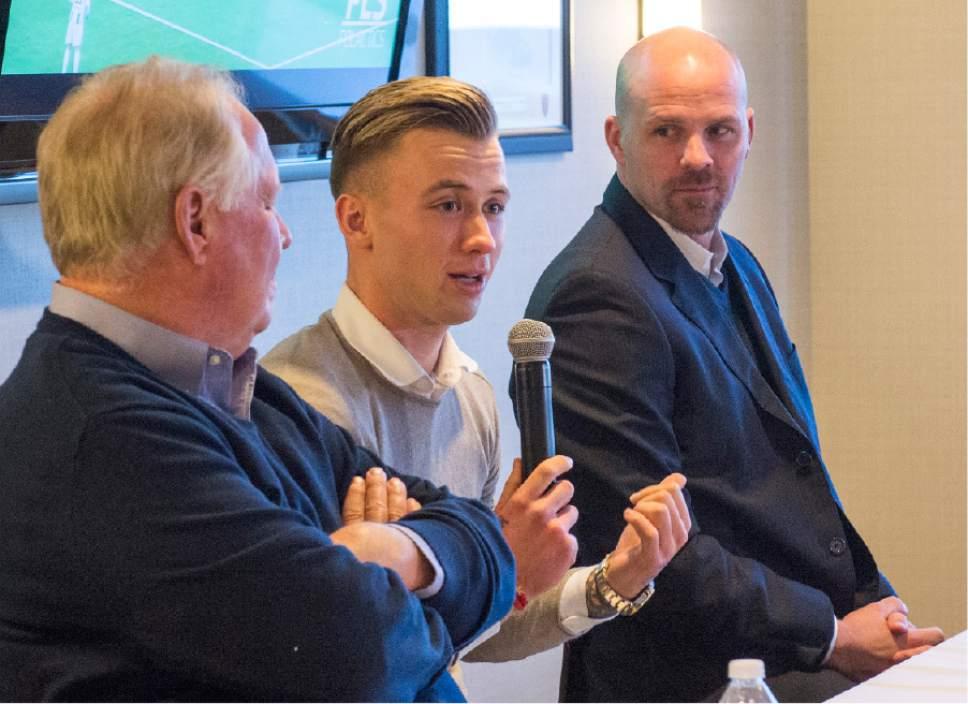 Rick Egan  |  The Salt Lake Tribune  Albert Rusnak, talks to the press as, Real Salt Lake owner Dell Loy Hansen, and General Manager, Craig Waibel, listen, Friday, January 6, 2017.