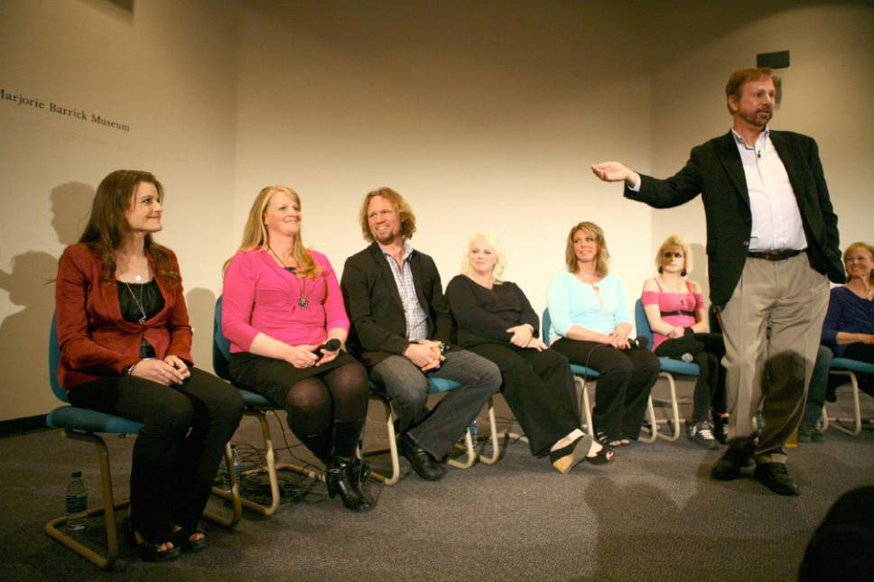 """(Mandatory Credit) Paulina Zeng   The Rebel Yell  Kody Brown, third from left, of reality show """"Sister Wives,"""" is introduced to the audience during a panel on polygamy presented by the Department of Anthropology at the Marjorie Barrick Museum Auditorium on the campus of the University of Nevada, Las Vegas on Thursday, April 25, 2013. (Paulina Zeng/The Rebel Yell)"""