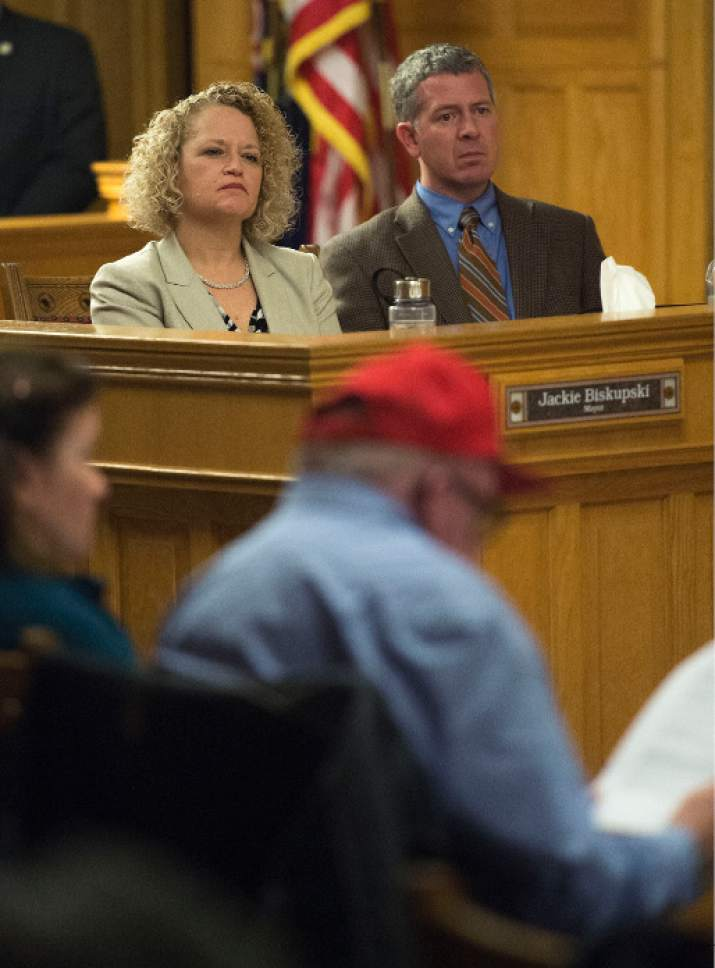 Steve Griffin  |  The Salt Lake Tribune Salt Lake City Mayor Jackie Biskupski sits with Patrick Leary, Salt Lake City Chief of Staff, during the Salt Lake City Council's first meeting of the year. as part of the meeting residents who live near four new proposed homeless shelters shared their feelings with the Council and the mayor at the City and County Building in Salt Lake City Tuesday January 3, 2017.