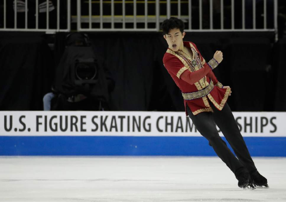 Nathan Chen performs during the men's free skate competition at the U.S. Figure Skating Championships Sunday, Jan. 22, 2017, in Kansas City, Mo. (AP Photo/Charlie Riedel)