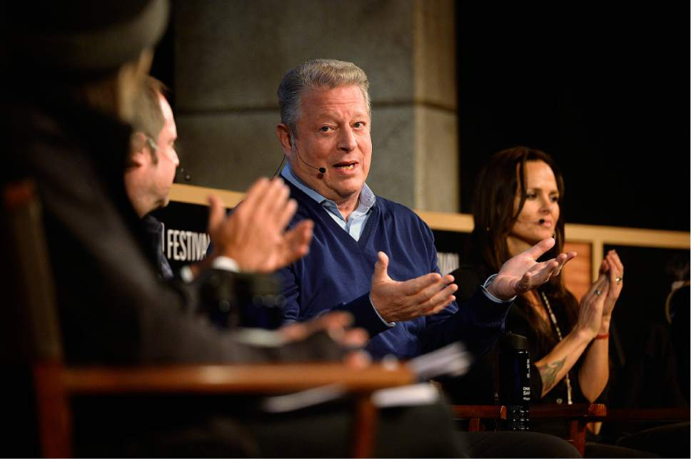 Scott Sommerdorf   |  The Salt Lake Tribune   Former Vice President Al Gore speaks during the panel discussion on climate change at the Egyptian Theater, Sunday, January 22, 2017.