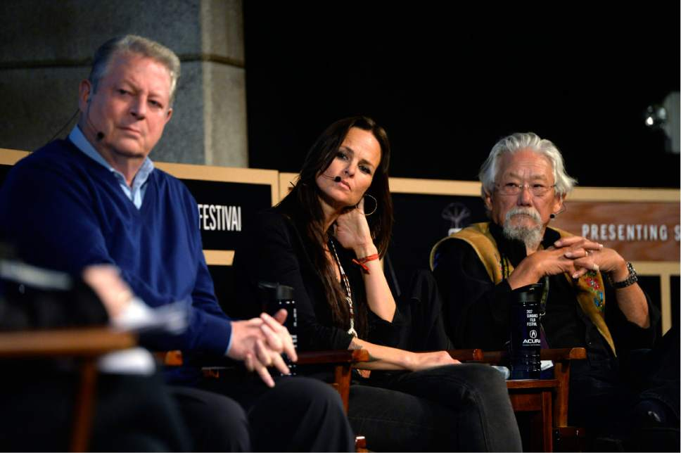 Scott Sommerdorf   |  The Salt Lake Tribune   Former Vice President Al Gore, left, Heather Rae, center, and David Suzuki listen during the panel discussion on climate change at the Egyptian Theater, Sunday, January 22, 2017.