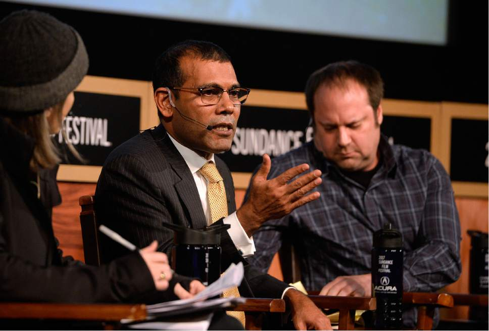 Scott Sommerdorf   |  The Salt Lake Tribune   Former Maldives President Mohamed Nasheed speaks during the panel discussion on climate change at the Egyptian Theater, Sunday, January 22, 2017.