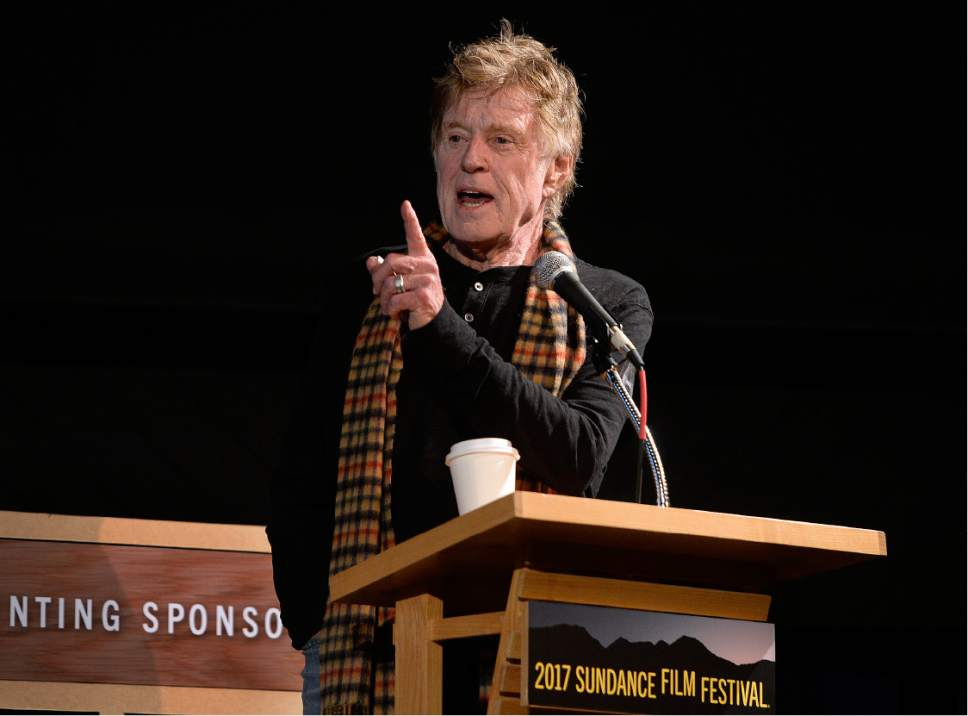 Scott Sommerdorf   |  The Salt Lake Tribune   Robert Redford introduces the panel discussion on climate change at the Egyptian Theater, Sunday, January 22, 2017.