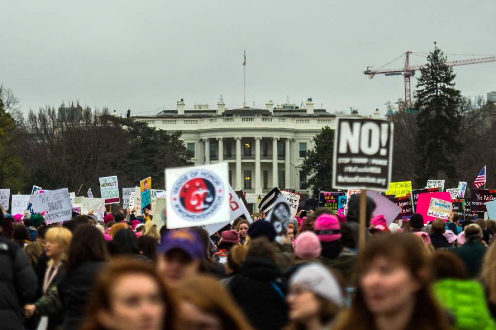 Chris Detrick  |  The Salt Lake Tribune Attendees gather during the Women's March on Washington at the White House Saturday January 21, 2017.