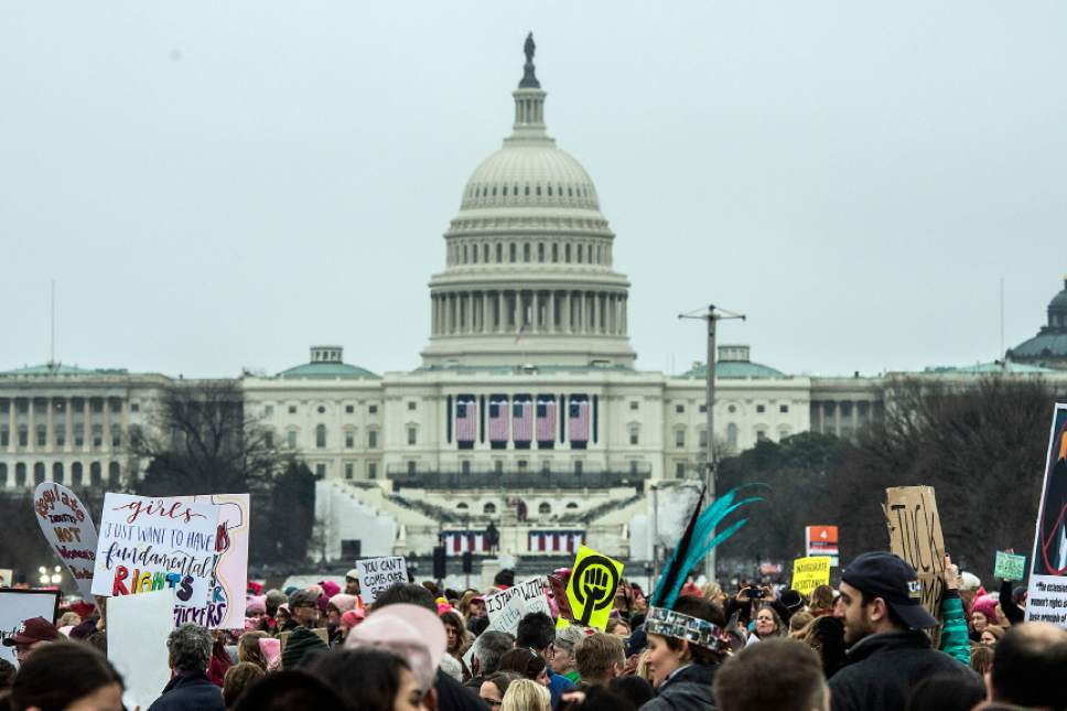 Chris Detrick  |  The Salt Lake Tribune Attendees gather during the Women's March on Washington at the National Mall Saturday January 21, 2017.