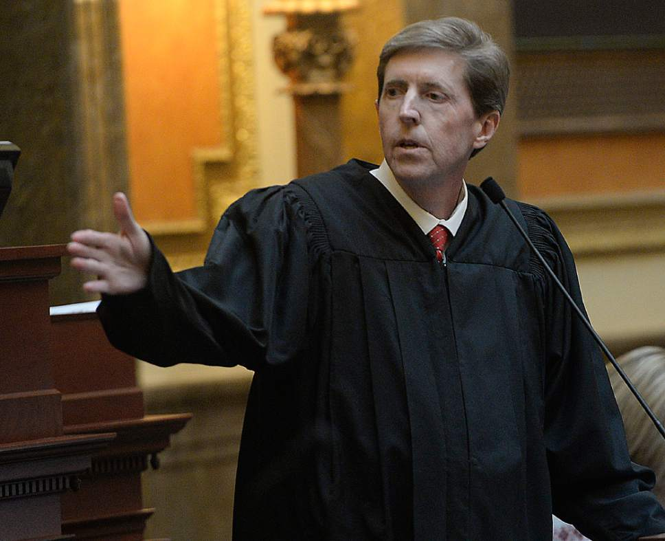 Al Hartmann  |  The Salt Lake Tribune Utah Chief Justice Matthew Durrant gives the State of the Judiciary address to members of the Utah House of Representatives Monday Jan. 23, the first day of the 2017 session.