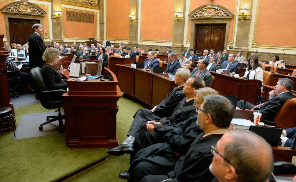 Al Hartmann  |  The Salt Lake Tribune Utah Chief Justice Matthew Durrant, upper left, gives the State of the Judiciary address to members of the Utah House of Representatives Monday Jan. 23, the first day of the 2017 session.