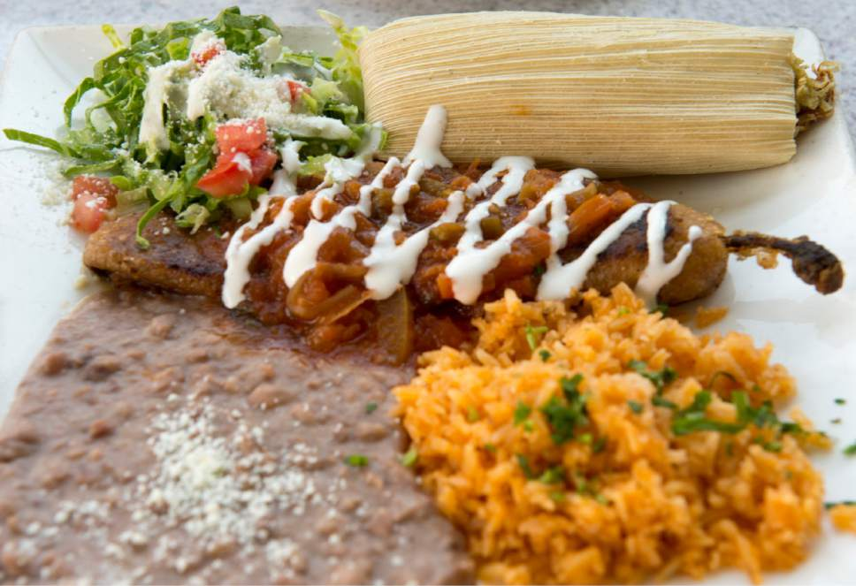 Rick Egan  |  The Salt Lake Tribune  The two-item combination platter with chile relleno and chicken tamale, rice and beans, at Chile-Tepin, a new Mexican restaurant in downtown Salt Lake City.