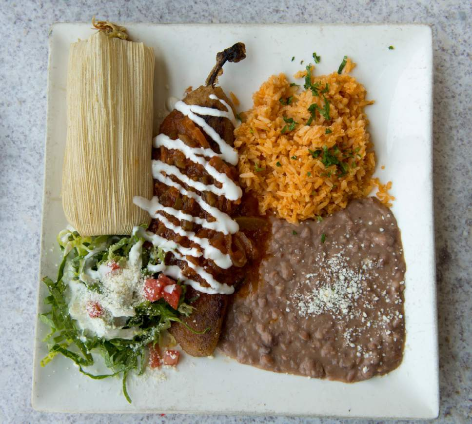 Rick Egan  |  The Salt Lake Tribune  The two-item combination platter with chile relleno and chicken tamale, rice and beans, at Chile-Tepin, a new Mexican restaurant, 307 W. 200 South, Salt Lake City.