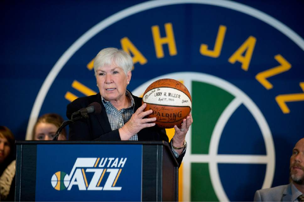 Lennie Mahler  |  The Salt Lake Tribune Gail Miller, owner and chairman of The Larry H. Miller Group of Companies announces she will transfer ownership of the Utah Jazz and Vivint Smart Home Arena to a family-owned legacy fund Monday, Jan. 23, 2017.