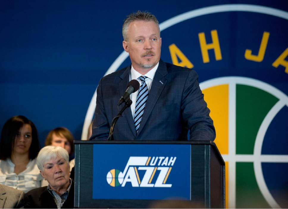 Lennie Mahler  |  The Salt Lake Tribune  Greg Miller speaks at an announcement that ownership of the Utah Jazz and Vivint Smart Home Arena will be transferred to a family-owned legacy fund Monday, Jan. 23, 2017.