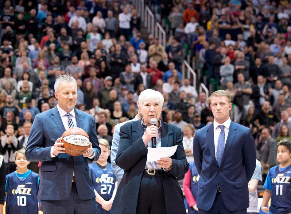 Lennie Mahler  |  The Salt Lake Tribune  Gail Miller, owner and chairman of The Larry H. Miller Group of Companies, and flanked by Greg Miller, Steve Miller and Zane Miller, announces during a game against the Oklahoma City Thunder she will transfer ownership of the Utah Jazz and Vivint Smart Home Arena to a family-owned legacy fund Monday, Jan. 23, 2017.