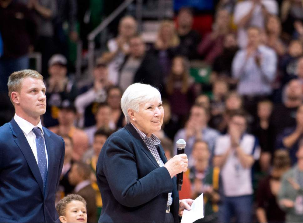 Lennie Mahler  |  The Salt Lake Tribune  Gail Miller, owner and chairman of The Larry H. Miller Group of Companies announces during a game against the Oklahoma City Thunder she will transfer ownership of the Utah Jazz and Vivint Smart Home Arena to a family-owned legacy fund Monday, Jan. 23, 2017. Left of Miller is her grandson, Zane Miller.