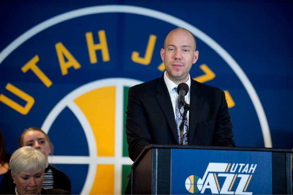 Lennie Mahler  |  The Salt Lake Tribune  Bryan Miller speaks at an announcement that ownership of the Utah Jazz and Vivint Smart Home Arena will be transferred to a family-owned legacy fund Monday, Jan. 23, 2017.