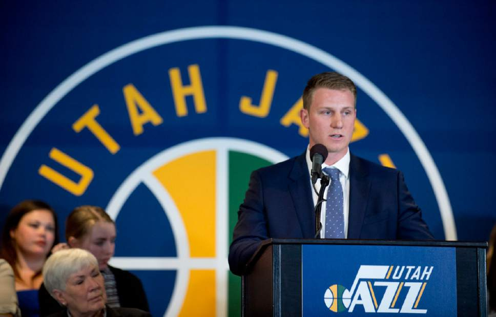 Lennie Mahler  |  The Salt Lake Tribune  Zane Miller speaks at an announcement that ownership of the Utah Jazz and Vivint Smart Home Arena will be transferred to a family-owned legacy fund Monday, Jan. 23, 2017.