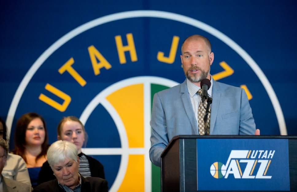 Lennie Mahler  |  The Salt Lake Tribune  Steve Miller speaks at an announcement that ownership of the Utah Jazz and Vivint Smart Home Arena will be transferred to a family-owned legacy fund Monday, Jan. 23, 2017.