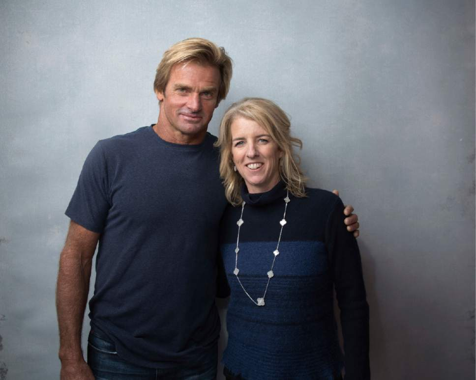 "Laird Hamilton, left, and director Rory Kennedy pose for a portrait to promote the film, ""Take Every Wave: The Life of Laird Hamilton"", at the Music Lodge during the Sundance Film Festival on Sunday, Jan. 22, 2017, in Park City, Utah. (Photo by Taylor Jewell/Invision/AP)"