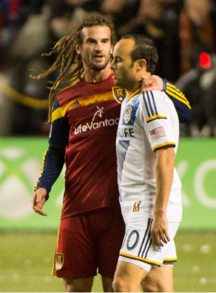 Rick Egan  |  The Salt Lake Tribune  Real Salt Lake midfielder Kyle Beckerman (5) swaps shirts with Los Angeles Galaxy's Landon Donovan, after the game ended in a 0-0 tie, in MLS playoff action, Real Salt Lake vs. The LA Galaxy, at Rio Tinto Stadium, Saturday, November 1, 2014