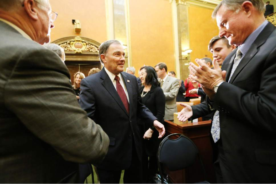 Jeffrey D. Allred  |  Pool Photo  Gov. Gary R. Herbert shakes hands with senators and representatives prior to his State of the State address at the Utah State Capitol in Salt Lake City on Wednesday, Jan. 25, 2017.