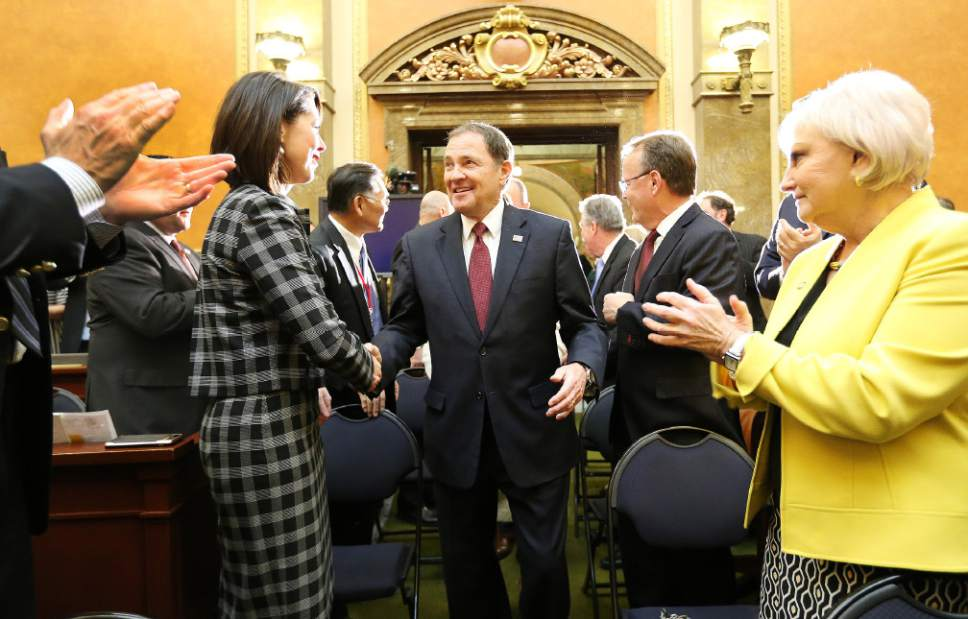 Jeffrey D. Allred  |  Pool Photo  Gov. Gary R. Herbert shakes hands with  Sen. Deidre Henderson, R-Spanish Fork, prior to his State of the State address at the Utah State Capitol in Salt Lake City on Wednesday, Jan. 25, 2017.