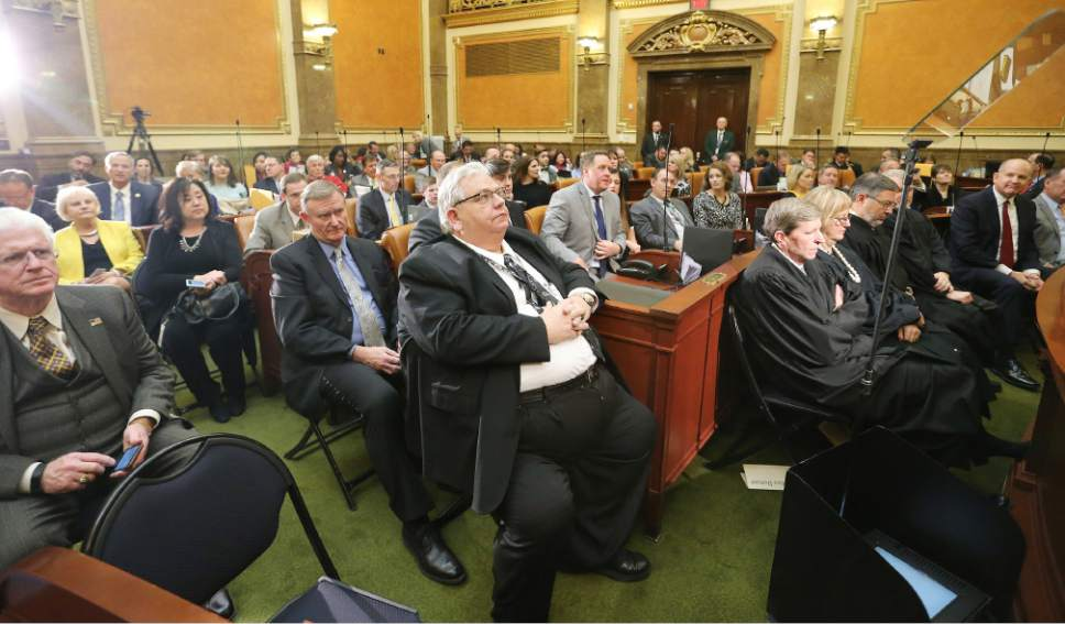 Jeffrey D. Allred  |  Pool Photo  Senators and representatives listen as Gov. Gary R. Herbert speaks during his State of the State address at the Utah State Capitol in Salt Lake City on Wednesday, Jan. 25, 2017.