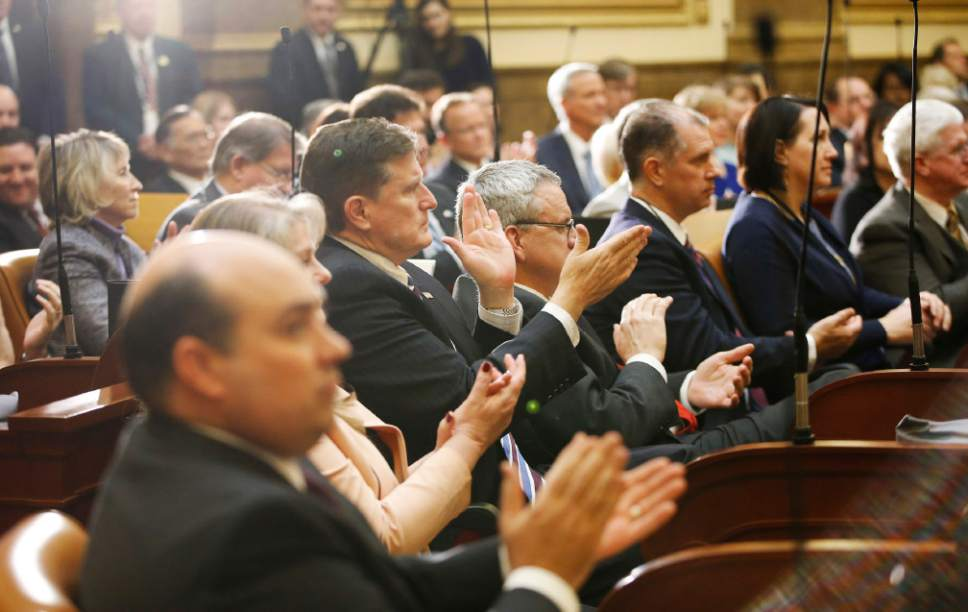 Jeffrey D. Allred  |  Pool Photo  Senators and representatives applaud as Gov. Gary R. Herbert speaks during his State of the State address at the Utah State Capitol in Salt Lake City on Wednesday, Jan. 25, 2017.