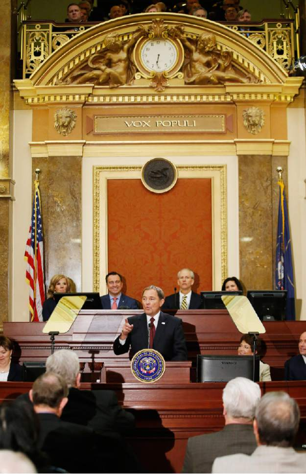 Jeffrey D. Allred  |  Pool Photo  Gov. Gary R. Herbert speaks to senators and representatives during his State of the State address at the Utah State Capitol in Salt Lake City on Wednesday, Jan. 25, 2017.
