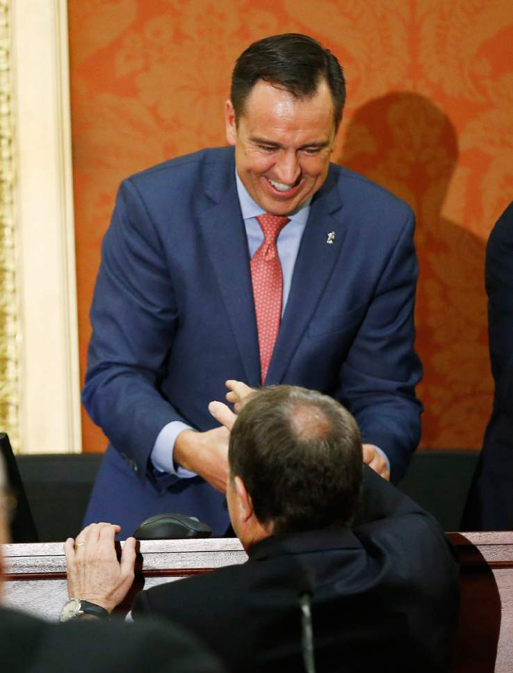 Jeffrey D. Allred  |  Pool Photo  Utah House Speaker Greg Hughes shakes hands with Gov. Gary R. Herbert prior to his State of the State address at the Utah State Capitol in Salt Lake City on Wednesday, Jan. 25, 2017.
