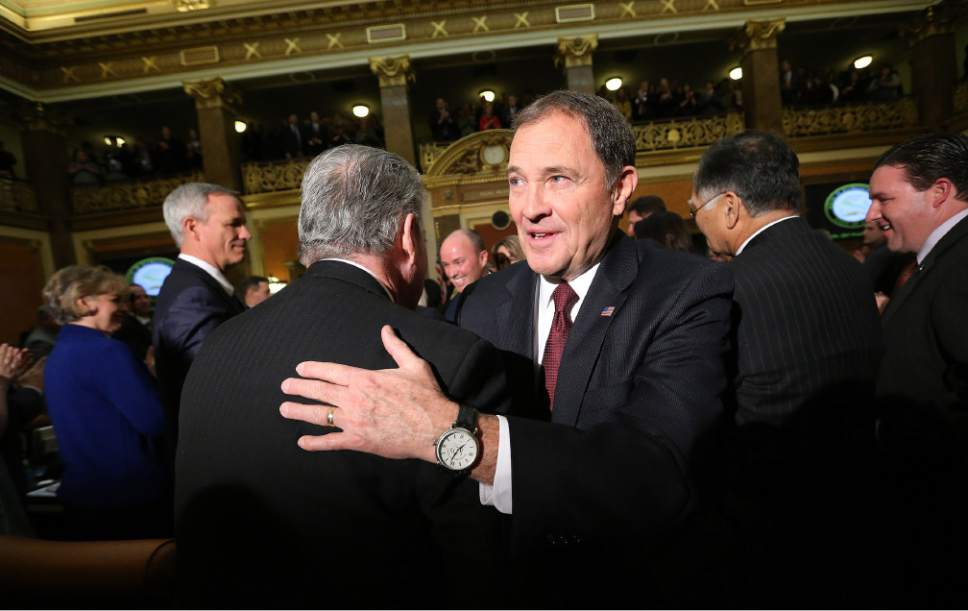 Jeffrey D. Allred  |  Pool Photo  Gov. Gary R. Herbert shakes hands with Senate Minority Leader Gene Davis, D-Salt Lake City, after his State of the State address at the Utah State Capitol in Salt Lake City on Wednesday, Jan. 25, 2017.