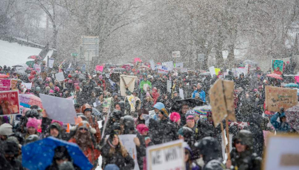 Steve Griffin / The Salt Lake Tribune  Thousands of people attend the Women's March on the Capitol which began at City Creek Park, and proceeded up State Street to the State Capitol. Participants filled the Rotunda for a rally against bills and stands they say hurt women. in Salt Lake City Monday January 23, 2017.