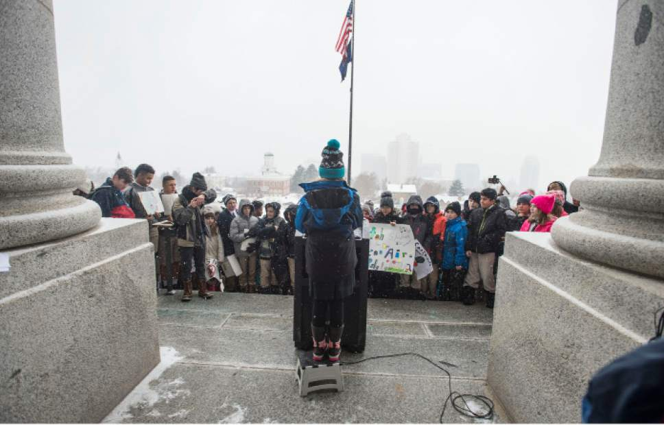 Steve Griffin / The Salt Lake Tribune  Madeleine Choir School fifth- grader Imogen Ray gives a speech as she and hundreds of Utah students from schools including the Choir School, Rowland Hall and Judge Memorial Catholic High School participate in a Clean Air Rally on the front steps of the State Capitol in Salt Lake City Thursday January 26, 2017. This is the third consecutive year students from the Choir School have aired their concerns about the excess smog as several students gave speeches to the group.