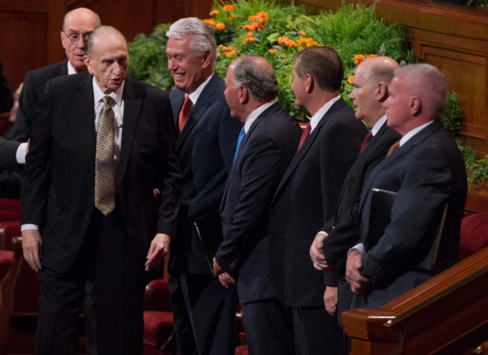 Leah Hogsten  |  The Salt Lake Tribune  President Thomas S. Monson draws a laugh from Second Counselor Dieter F. Uchtdorf and members of The Quorum of the Twelve Apostles during the 186th Semiannual General Conference of The Church of Jesus Christ of Latter-day Saints in Salt Lake City, October 1, 2016.