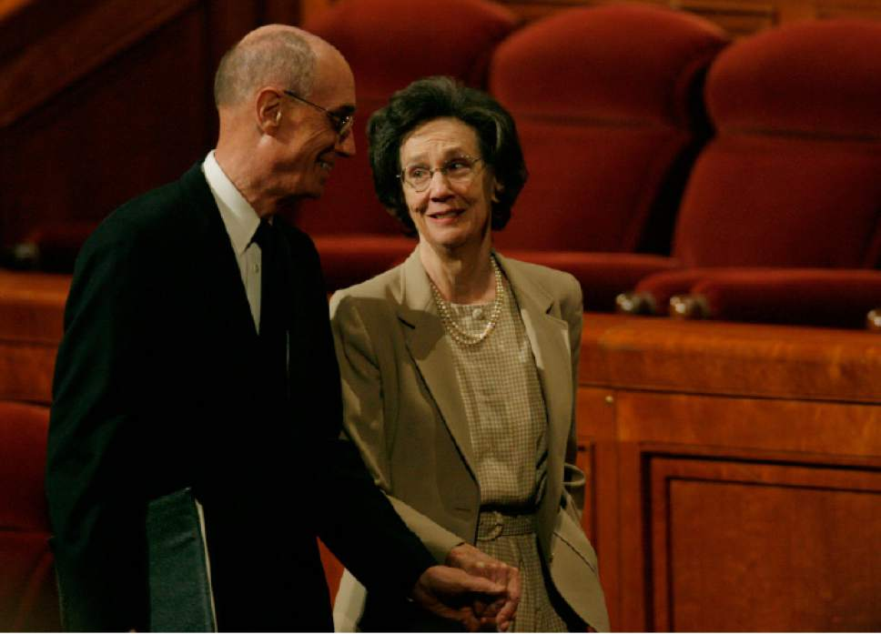 Rick Egan  |  The Salt Lake Tribune Henry B. Eyring walks out of conference with his wife, Kathleen, after the morning session of General Conference on Oct. 6, 2007.
