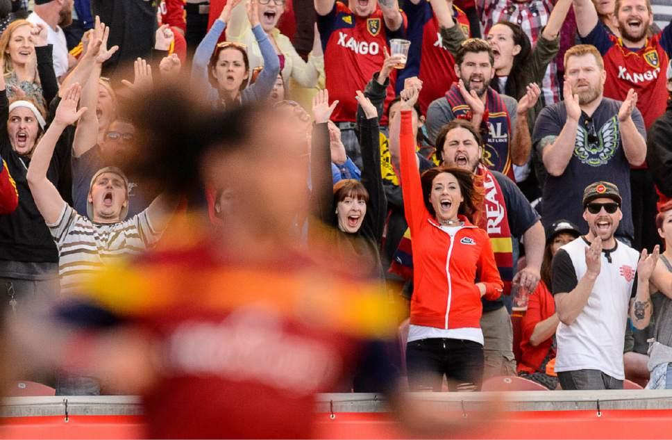 Trent Nelson     The Salt Lake Tribune Fans react to the game-winning goal by Real Salt Lake defender/midfielder Jordan Allen (7) as Real Salt Lake hosts Toronto FC at Rio Tinto Stadium in Sandy, Sunday March 29, 2015.