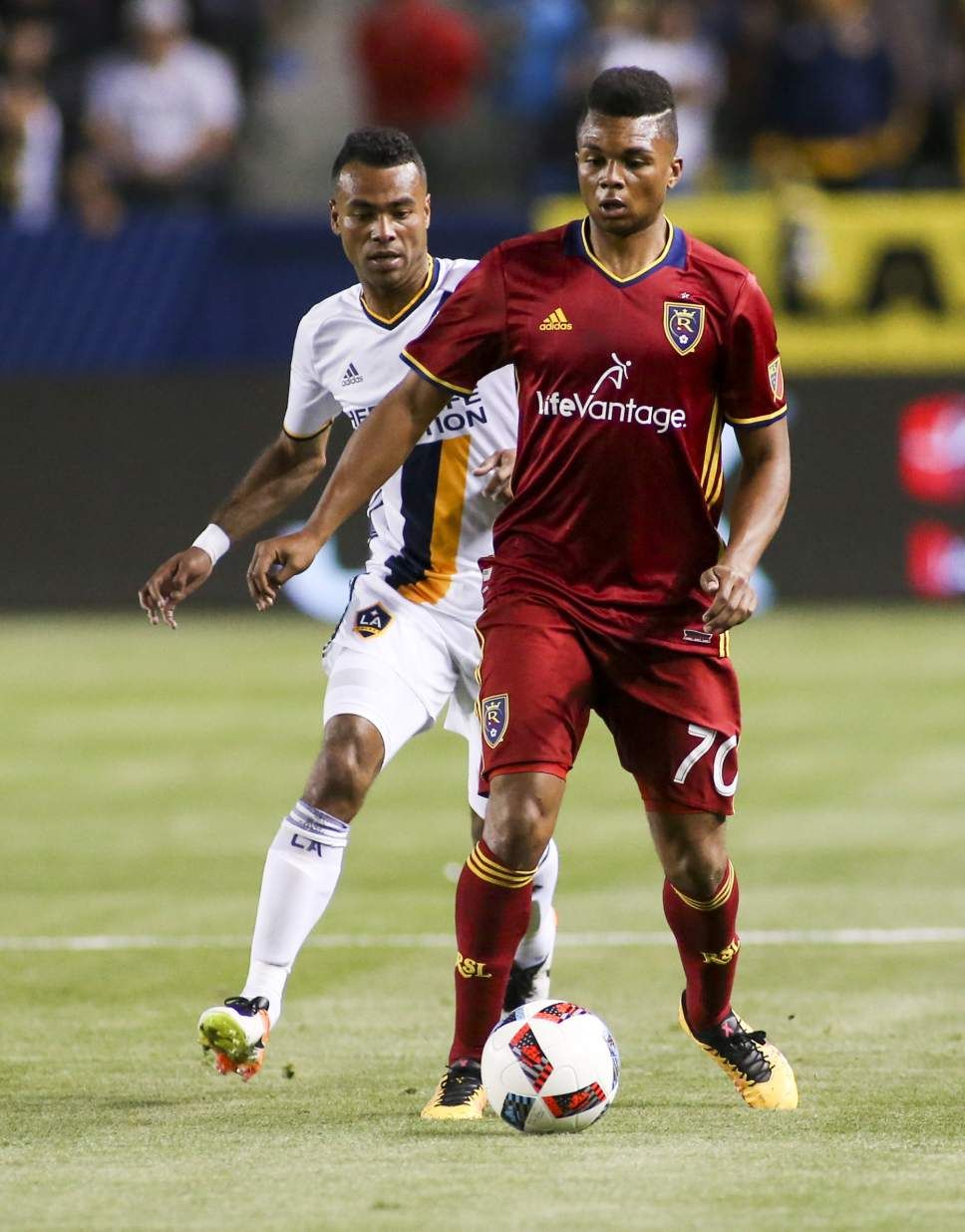 Real Salt Lake midfielder Jordan Allen (70)) in actions against Los Angeles Galaxy in the first half of an MLS soccer game in Carson, Calif., Saturday, April 23, 2016. (AP Photo/Ringo H.W. Chiu)