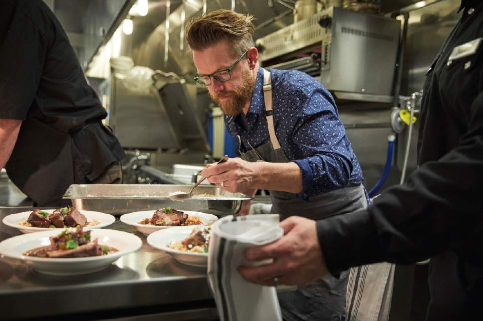 "Courtesy  | Sundance Institute  Richard Blais puts the finishing touches on his beef short-rib goulash before ""An Artist at the Table"" fundraising dinner in Kamas."