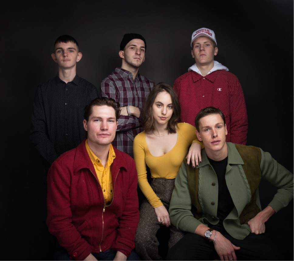 "Actor Anton Selyaninov, from top left, actor Frank Hakaj, actor Dave Ivanov, actor Harrison Sheehan, from bottom left, actress Madeline Weinstein and actor Harris Dickinson pose for a portrait to promote the film, ""Beach Rats"", at the Music Lodge during the Sundance Film Festival on Monday, Jan. 23, 2017, in Park City, Utah. (Photo by Taylor Jewell/Invision/AP)"